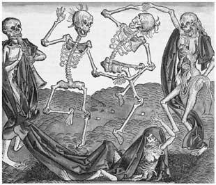 A Dança da Morte, gravura em madeira de 1493.