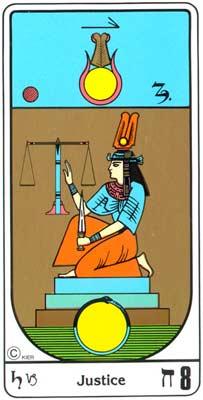 8. La Justicia (A Justiça) no Tarot Egipcio da Kier