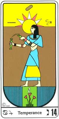 14. La Temperancia (A Temperança) no Tarot Egipcio da Kier
