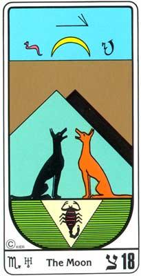 18. El Crepúsculo (A Lua) no Tarot Egipcio da Kier