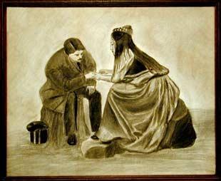 Quiromante cigana, desenho a carvão. Autor desconhecido do inícido do sec.20