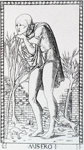"""O Louco """"Misero"""" no tarô de Mantegna"""