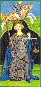 A Jutiça no tarô Visconti Sforza