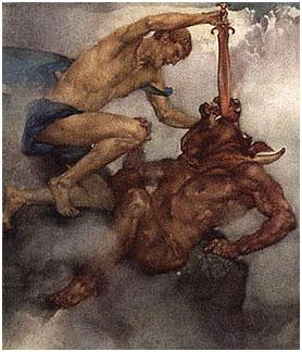 Teseu enfrenta o Minotauro